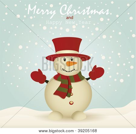 Merry Christmas card with Snowman card.Vector Illustration