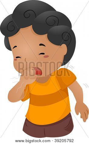 Illustration of a Boy Coughing