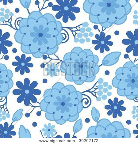 Delft blue Holland flowers seamless pattern background