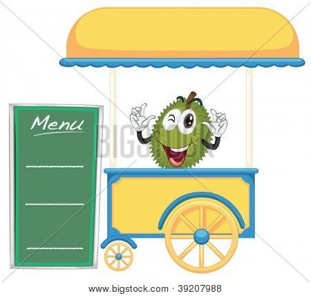 illustration of a cart stall and a jackfruit on a white background