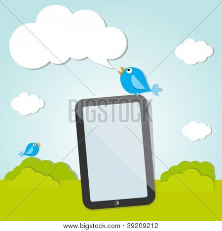 Two bird and digital tablet