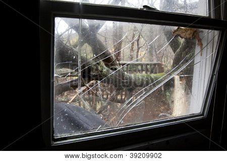 ANDOVER, NJ - OCT 30: A broken window pane from inside a home struck by falling trees after Hurricane Sandy made landfall in the northeast region of the US in Andover, New Jersey on October 30, 2012.