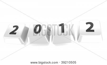 2012 Written In Black On White Computer Keys. 3D Illustration. Isolated Background.