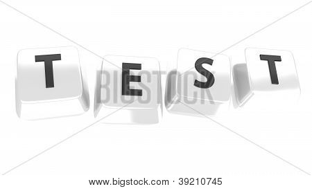 Test Written In Black On White Computer Keys. 3D Illustration. Isolated Background.