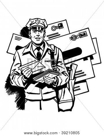 Postman Delivering Mail - Retro Clipart Illustration