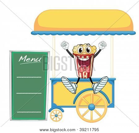 illustration of a cart stall and a popcorn on a white background