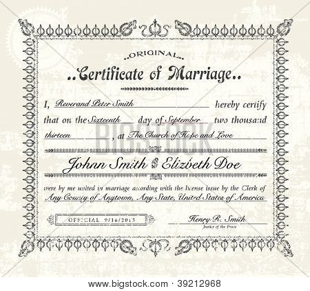 Vector Vintage Marriage Certificate. Easy to edit. Distressed overlay is easy to remove.