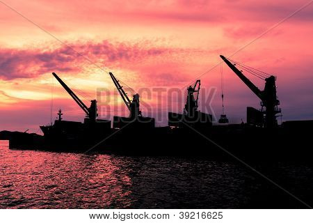 Dredge Sand Ship In Twilight