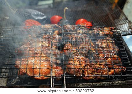 Grilled Chicken With A Tomato And Eggplant