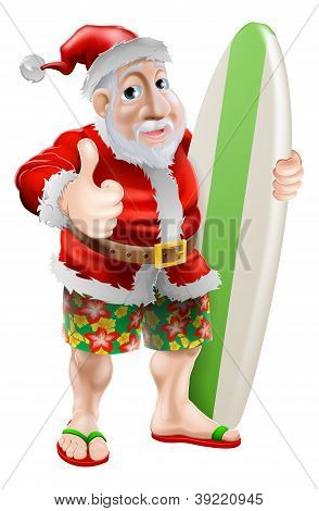 Thumbs Up Surfing Santa Claus