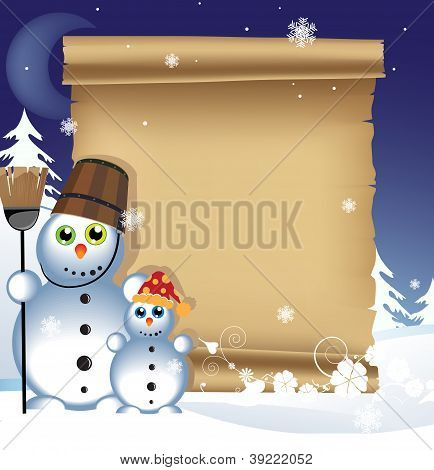 Snowman On A Winter Background