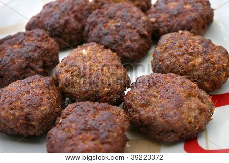 Fresh Meatballs In A Plate