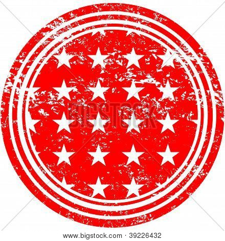 Stars On Red Field Rubber Stamp