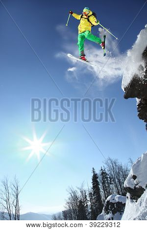 Extreme skiing in high mountain