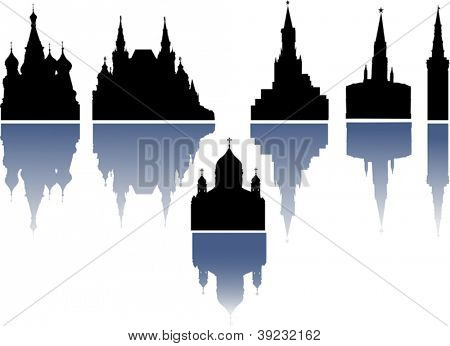 illustration with church and tower silhouettes collection isolated on white background