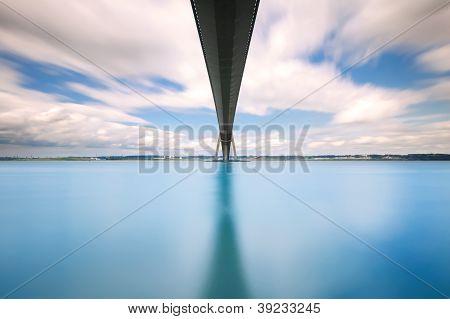 Normandy Bridge Over Seine River Long Exposure. Le Havre, France