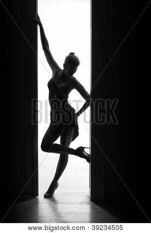 dancer woman stands in doorway, silhouette