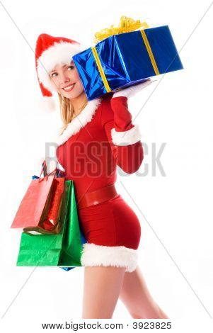 Pretty Girl Carrying Christmas Presents