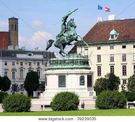 Monument Archduke Charles (erzherzog Karl) On Heldenplatz In Vienna, Austria