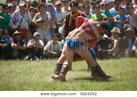 Mongolian Wrestlers At Nadaam Games