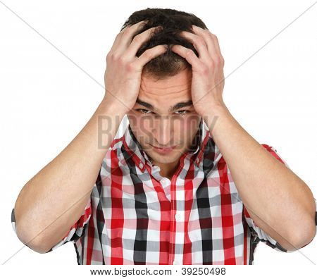 depression flu young man with headache over white background