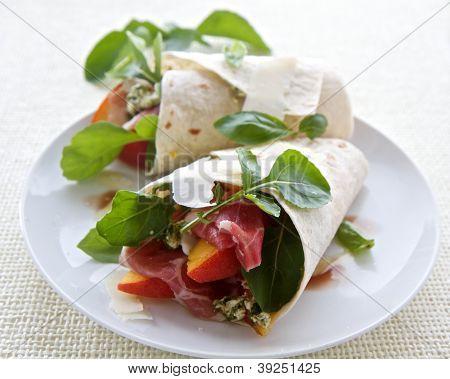 Ham, Peach And Cheese Wrap