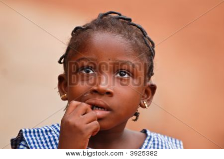 Young African Girl Looking Up