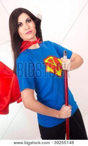 Halten Sie es sauber Super Hero fegt den Boden