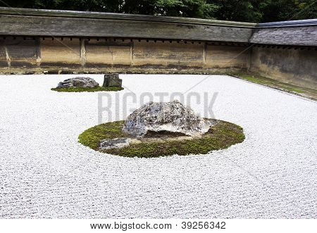 Rock Garden At The Ryoan-ji Temple In Kyoto, Japan.