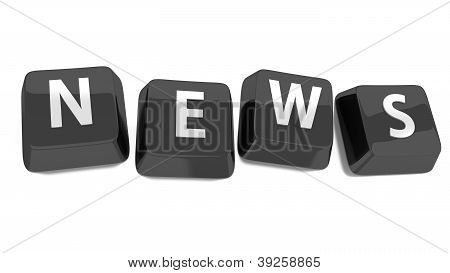 News Written In White On Black Computer Keys. 3D Illustration. Isolated Background.