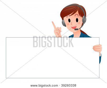 Customer Service Woman Holding A Blank Board