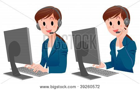 Set Of Cute Customer Service Woman Smiling In Suit