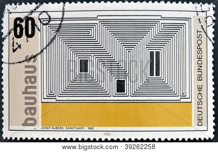 GERMANY - CIRCA 1983: A stamp printed in Germany dedicated to Bauhaus shows Sactuary by Josef Albers