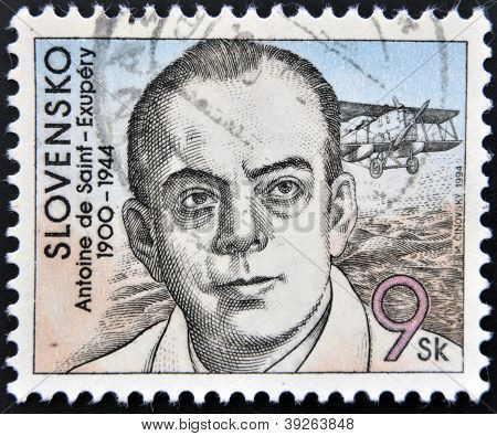 SLOVAKIA - CIRCA 1994: A stamp printed in Slovakia shows hows the author of The Little Prince Antoin