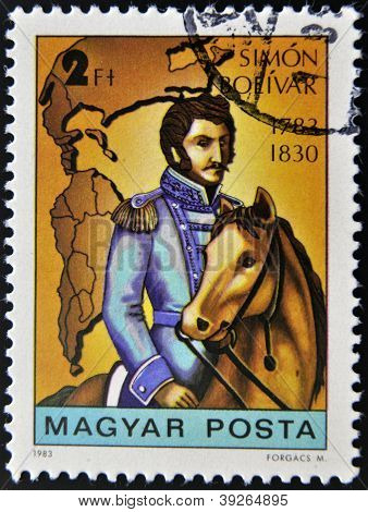 HUNGARY - CIRCA 1983: A stamp printed in Hungary shows Simon Bolivar circa 1983