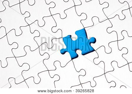A white blank puzzle with one single missing piece.  Can be used for strategic, complexity, incomplete, skill or solution inferences