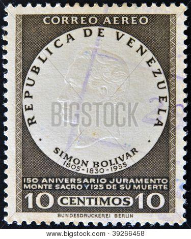 A stamp printed in Venezuela shows image of Simon Bolivar