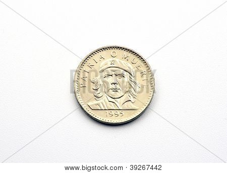 Cuban peso coin with portrait of ernesto che guevara
