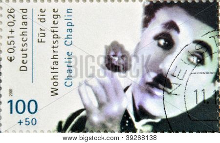 GERMANY - CIRCA 2001 : stamp printed in Germany showing actor Charles Chaplin circa 2005