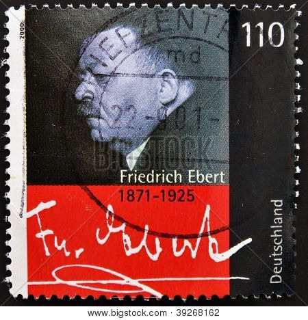 GERMANY- CIRCA 2000: stamp printed in Germany shows Friedrich Ebert President of German Reich circa