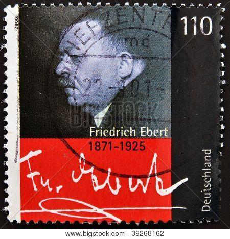 GERMANY- CIRCA 2000: stamp printed in Germany shows Friedrich Ebert President of German Reich circa