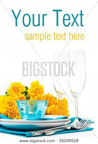 Table Setting With Yellow Roses, Ready Template