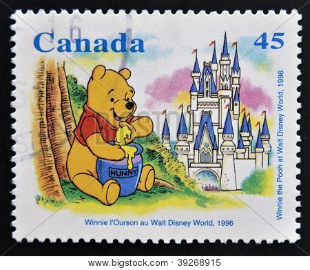 CANADA - CIRCA 1996: stamp printed in Canada shows Winnie the Pooh at Walt Disney World circa 1996