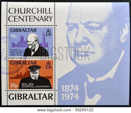 GIBRALTAR - CIRCA 1974 : Stamp printed in Gibraltar shows Winston Churchill 1874-1974 circa 1974