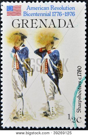 GRENADA - CIRCA 1976: A stamp printed in Grenada dedicated to american revolution bicentennial shows