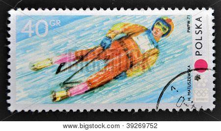 POLAND - CIRCA 1971: A stamp printed in Poland shows Toboggan circa 1971