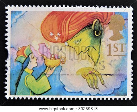 UNITED KINGDOM - CIRCA 1985: a stamp printed in the Great Britain shows Aladdin and the Genie circa