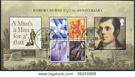 UNITED KINGDOM - CIRCA 2009: Collection stamps dedicated to 250th Anniversary of Robert Burns circa