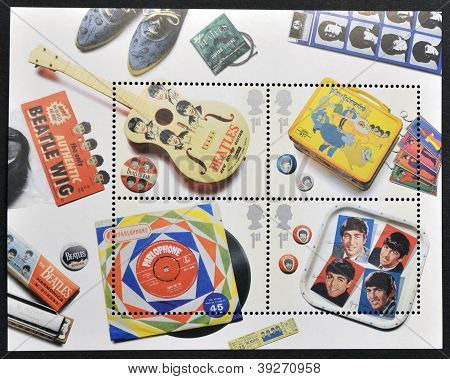 UNITED KINGDOM - CIRCA 2007: A stamp printed in Great Britain dedicated to The Beatles circa 2007