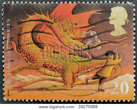UNITED KINGDOM - CIRCA 1998: A stamp printed in Great Britain shows image of The Hobbit by JRR Tolki
